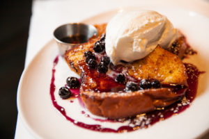 french toast a la mode with blueberries at mon ami gabi in bethesda md