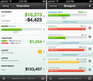 Mint iPhone mobile app screenshot with bank balance shown