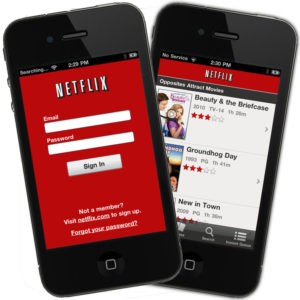 Netflix iPhone mobile app screenshots with sign in page and ratings