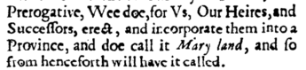 1632 maryland charter text